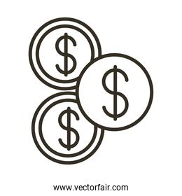 coins money dollars line style icon