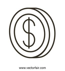 coin dollar line style icon
