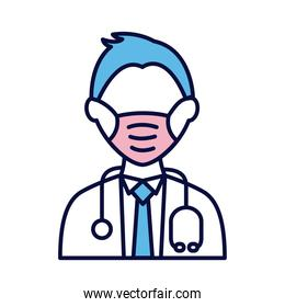 male doctor wearing medical mask with stethoscope line and fill style icon