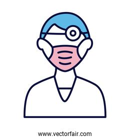 male doctor wearing medical mask and lantern line and fill style icon