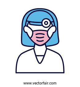 female doctor wearing medical mask and lantern line and fill style icon