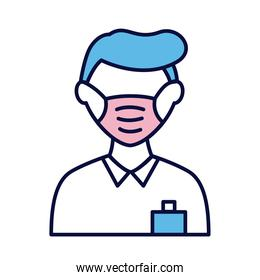 male wearing medical mask line and fill style icon