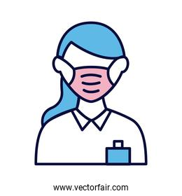 female wearing medical mask line and fill style icon