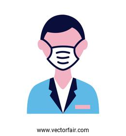 male doctor wearing medical mask flat style icon