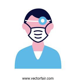 male doctor wearing medical mask and lantern flat style icon