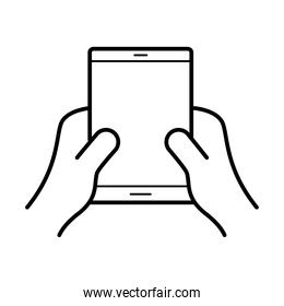 hands using tablet device line style icon