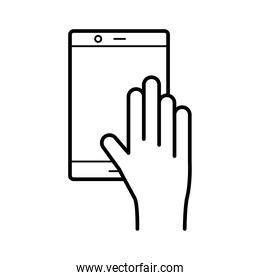 hand using tablet device line style icon