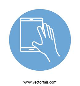 hand using tablet device block style icon