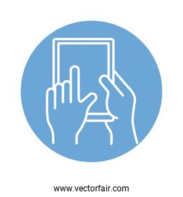 hands using tablet device block style icon