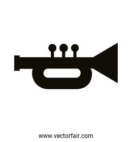 trumpet musical instrument silhouette style icon