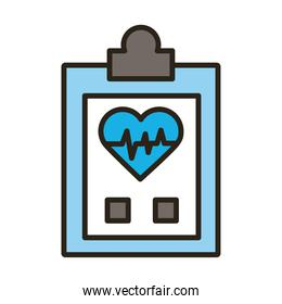 checklist with medical heart cardiology pulse line and fill icon