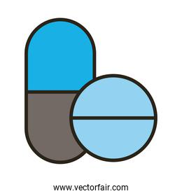 medicine capsules and pills drugs line and fill style icon