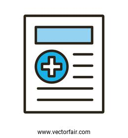 document with medical cross symbol
