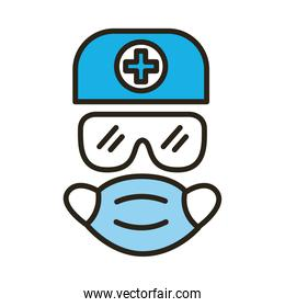 medical protection equipment line and fill style icon