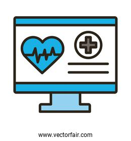 desktop with medical heart cardiology pulse line and fill style icon