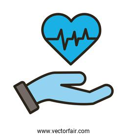 hand with medical heart cardiology pulse line and fill style icon