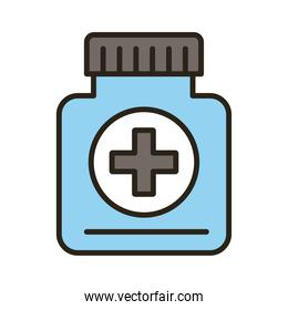 bottle of medicine drugs line and fill style icon