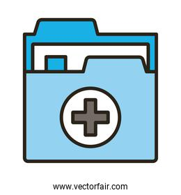 medical cross in folder documents line and fill style