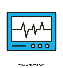 medical ekg machine cardiology pulse line and fill icon