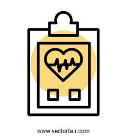 checklist with medical heart cardiology pulse line icon
