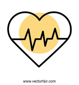 medical heart cardiology pulse line icon