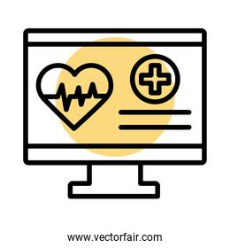desktop with medical heart cardiology pulse line style icon