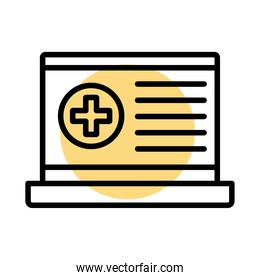 medical cross symbol in laptop line style