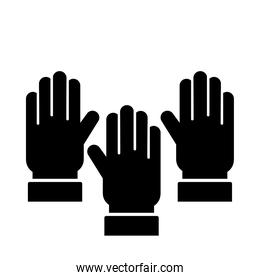 hands human up silhouette style icon