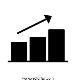 statistics bars with arrow silhouette style icon