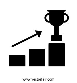 trophy cup in statistics bars with arrow silhouette style icon