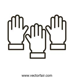 hands human up line style icon
