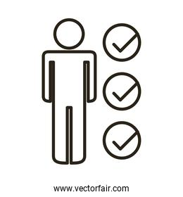 businessman figure with checklist line style icon