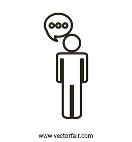 businessman figure with speech bubble line style icon