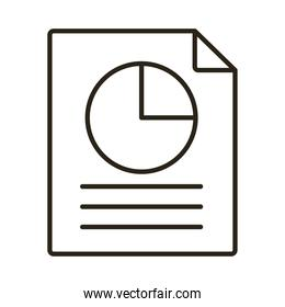 document paper with statistics pie line style icon
