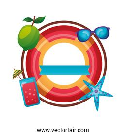 summer float with icon set vector design