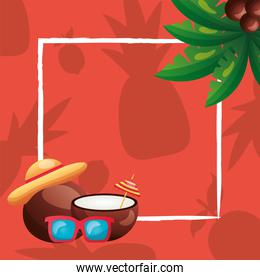 summer coconuts glasses hat and palm tree frame vector design