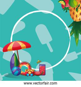 umbrella surfboard float ball and icon set with circle vector illustration