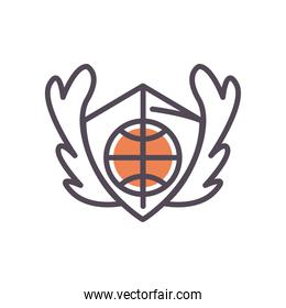 Ball on shield of basketball line and fill style icon vector design