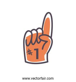 Number one glove line and fill style icon vector design