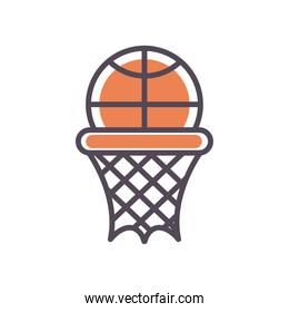 Basket ball and hoop line and fill style icon vector design