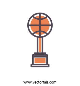 Ball trophy of basketball line and fill style icon vector design