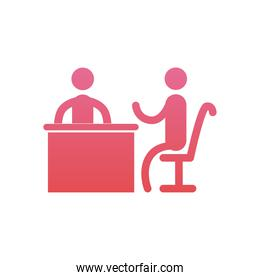 businessmen meeting on table  gradient  style icon vector design