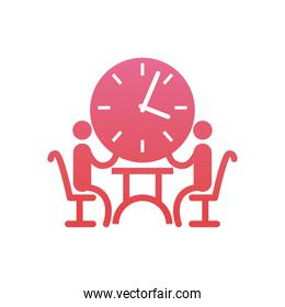 businessmen meeting on table with clock  gradient  style icon vector design