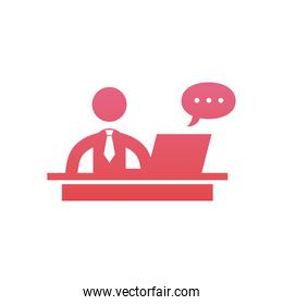 Businessman with laptop and bubble  gradient  style icon vector design