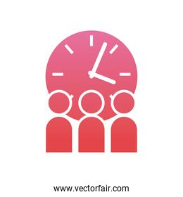 Corporate businessmen with clock  gradient  style icon vector design
