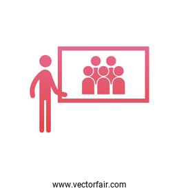 Businessman with screen  gradient  style icon vector design