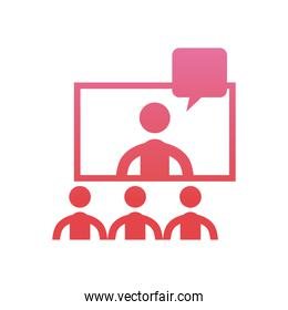 avatars seeing screen in video chat  gradient  style icon vector design