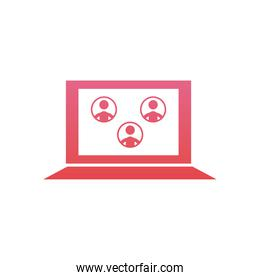 Avatars on computer in video chat  gradient  style icon vector design
