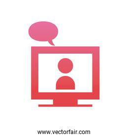 Avatar on computer in video chat with bubble  gradient  style icon vector design