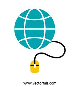 online education concept, global sphere with mouse device icon, half line half color style